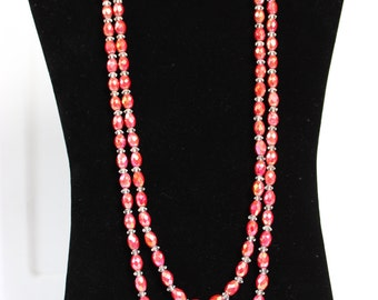 Long Glass Beaded Necklace Statement Necklace Faceted AB Pink 70s Era 55 Inches