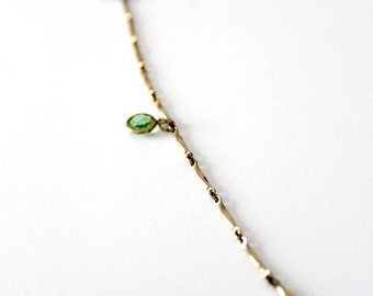 SALE long gold chain necklace, vintage gold link chain with light green stones