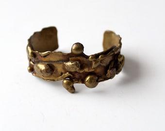 vintage 60s brutalist cuff, brass bracelet