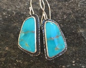 American Turquoise Earrings, Handmade, Sterling Silver, Sky Blue, Kingman Turquoise, Southwestern Style, Great with Jeans, Casual Earrings
