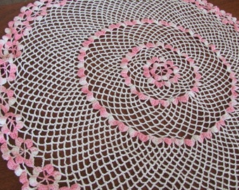Vintage 80's Handmade Shades of Pink and White Crochet Swirl Cottage Chic Doilie - Home Decor - Granny Chic - Doily - Table Centerpiece