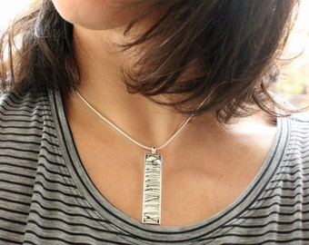Rectangle Necklace. Glass. Needle in a Haystack Chiyogami.