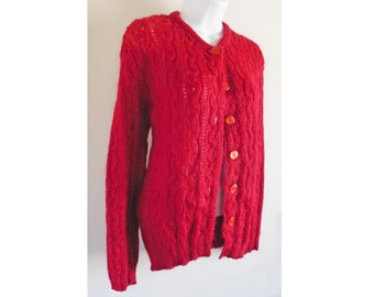 1950s CLASSIC red wool cardigan! Cable stitch /Donna Reed /Patty Duke