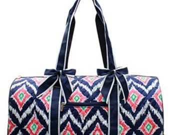 Personalized Quilted Ikat Shoulder Duffel Bag