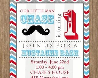 SALE Mustache Party Invitation 5x7 Invite Jpeg DIGITAL File