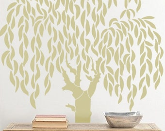 Tree Wall Stencil - Large Weeping Willow Tree - DIY wall decor stencils