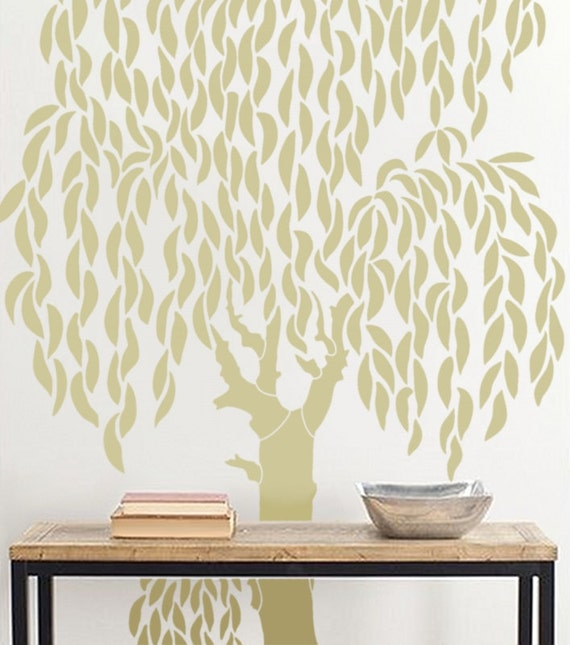 large tree template for wall - tree wall stencil large weeping willow tree diy wall decor