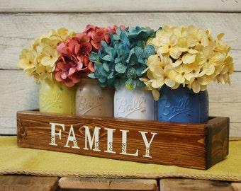 FAMILY mason jar caddy , Rustic home, kitchen decor, rustic centerpiece, wedding gift, Spring Summer decor, anniversary gift, cabin decor