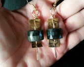 NEW ARTISAN EARRINGS - Enchanting Faceted Cat's Eye Chrysoberyl with Brass