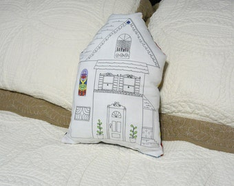 Whimsical house pillow plushie home decor 13 x 8""