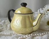 Vintage Lusterware Teapot Made in Czechoslovakia Small Yellow Lusterware Teapot Vintage 1940s
