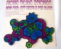 Vintage Rickie Tickie Stickies 1970 NOS Decals for Glass Stained Glass Look Reusable Removable Washable Press On Peel Off