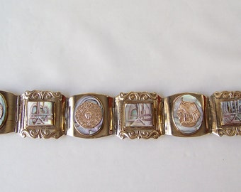 Vintage Carved Abalone Faux Gold Coins Nickel Silver Chunky Bracelet Glitzy Bracelet Made In Mexico 1980s