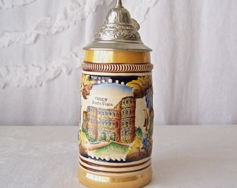 Vintage Beer Stein Made in Germany Lusterware Trim Finish Pictorial Porta Nigra Trier Germany Man Cave Bar Pool Room Gift For Dad 1980s