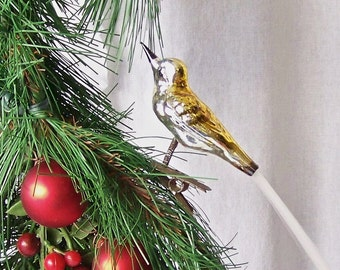 Vintage Clip on Bird Christmas Ornament Spun Glass Tail Glass Bird 1940s Holiday Decor