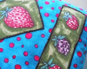 Polka Dots & Hand Appliqued Strawberries Pillow
