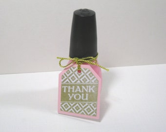 10 Pink Gold Nail Polish Thank You Tags - Baby Shower Tags - Bridal Shower Tags - Small Tags