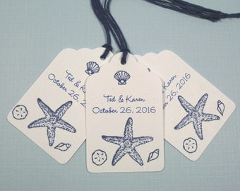 10 Personalized Navy Blue Beach Seashore Seashell Tropical Wedding Favor Tags or Bridal Shower Tags - Destination Wedding - Thank You Tags