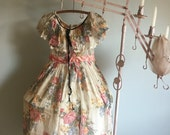 Beautiful Antique Pannier Dress Semi Sheer Netted Floral Print Lace Trim Pink Silk Sash