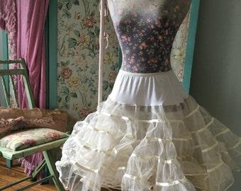 Vintage Malco Modes Costume Tutu Crinoline White Puffy Lace Tiered Skirt