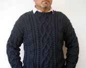 Charcoal Grey Cabled Men Sweater Hand Knit Wool Sweater Men Fashion Sweater NEW