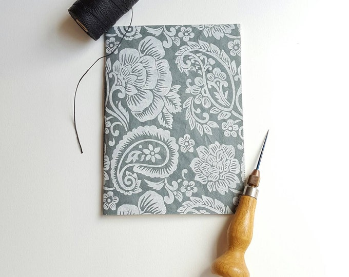 Paisley Silver on Gray Notebook - Lokta Paper Notebook - Jotter - Pocket Notebook - Diary