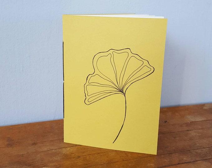 Ginkgo Leaf Hand-Drawn Hand-Sewn Notebook - Loops Design - Jotter Notebook - Bullet Journal