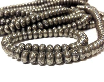 5 x 8 mm Natural Pyrite Smooth Rondelle Beads Gemstone (G5918W28)