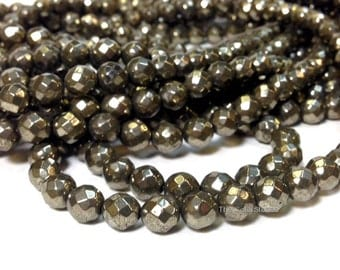 AA Grade Full Strand 6 mm Natural Pyrite Faceted Round Beads Gemstone 64 Faces (G5930P30Q5)