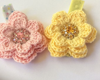 Crochet Flowers on Clips - Layered, Pastel Flowers with Rhinestone Centers