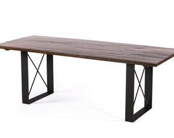 Soho Reclaimed Wood Dining Table  - Dark Walnut - Custom Sizes & Finishes Available