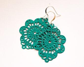 Turquoise Earrings, Verdigris Earrings, Filigree Earrings, Turquoise Filigree, Shabby Chic, Dangle Earrings, Patina Earrings, Gifts for Her