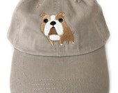Bulldog baseball cap, embroidered bulldog ball cap