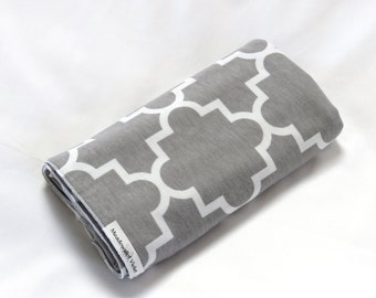 Large Cotton Jersey Knit Baby Swaddle/Receiving Blanket - Girl or Boy - Gray Quatrefoil Design