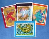 Fine Art Greeting Card Set of Four Notes, Feathered Friends, Hand Made Note Card Set, Red Bird, Flight, Flock, Bird Dance.