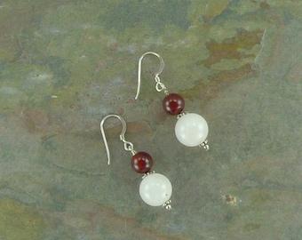 ROSE QUARTZ & CARNELIAN Gemstone Earrings Sterling Silver Natural Stone