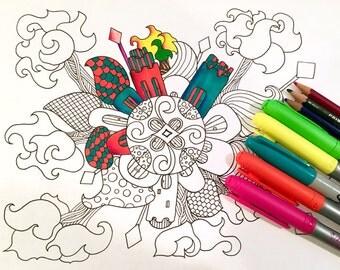 Mandala Adult Coloring Page Village Doodle Original Art Kids Fun Design