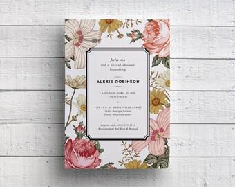 Floral Bridal Shower, Printable Bridal Shower Invitations, Spring Shower Invitations, Bridal Luncheon, Bridal Tea, Wedding Shower