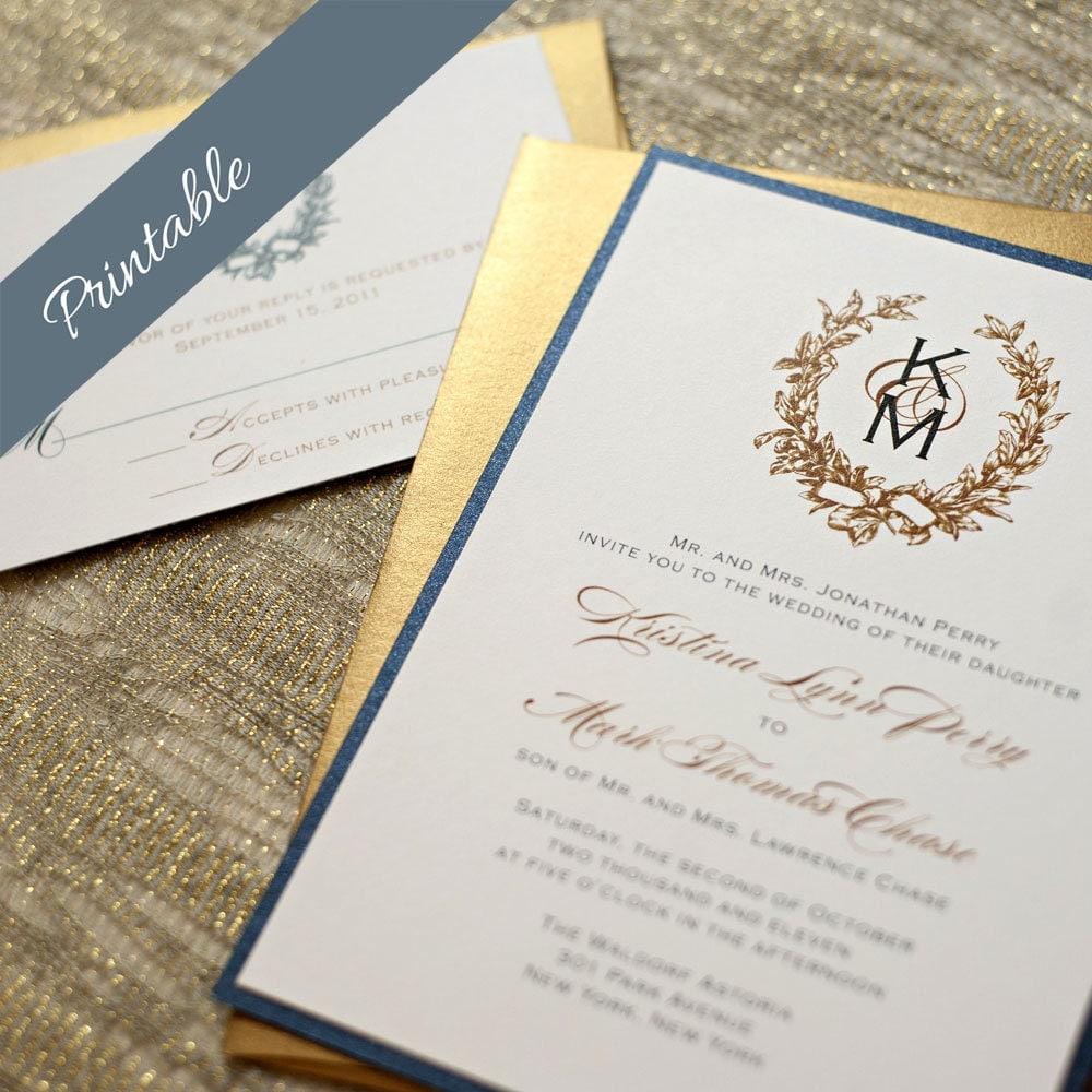 Printable Wedding Invitations Monogram By EdenWeddingStudio