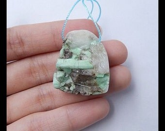 Gemstone Nugget Green Emerald Pendant Bead,28x24x14mm,13.6g
