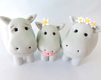 Hippo Family, Cake Topper, Polymer Clay