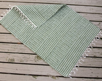 """Hand Woven Rug Runner - 24"""" x 35"""" olive and light sage"""