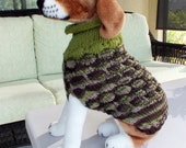 Dog Sweater Hand Knit A Walk In The Woods Medium 16 inches long Merino Wool