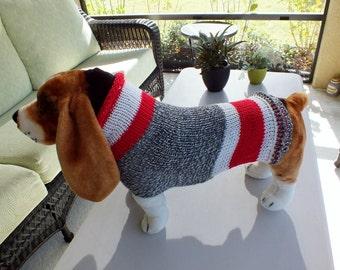 """Dog Coat Sock Monkey 17"""" inches long  Large Merino Wool"""
