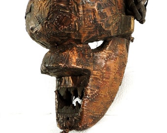 Salampasu Mask Copper-covered Congo African Art 100283