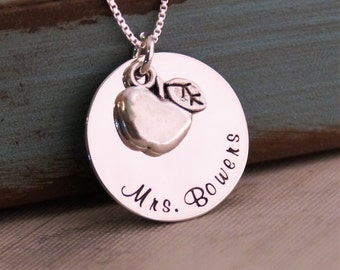 Teacher Necklace / Hand Stamped personalized Necklace / Sterling Silver Jewelry / Teacher apple Necklace