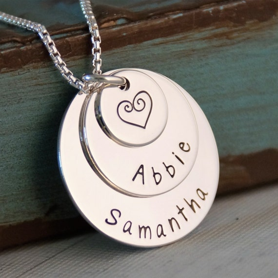 Hand Stamped Personalized Mommy Necklace - Sterling Silver Family Stack - 3 layers of love