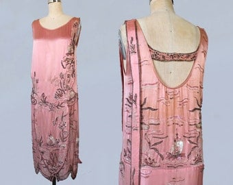 RESERVED 1920s Dress / Pink Satin 20s Flapper Dress / Chinoiserie / Beaded Sequined and Rhinestoned / Open Back / WHALES And FISH