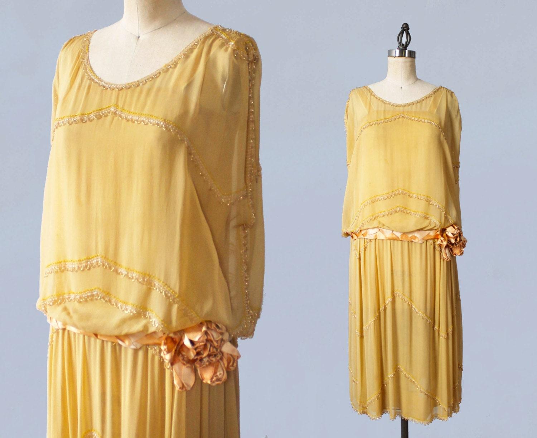1920s Dress 20s Yellow Beaded Flapper Dress Satin 3d