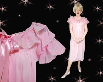 Vintage Pink Nylon Robe with Ruffles - 50s Pin Up Girl Negligee
